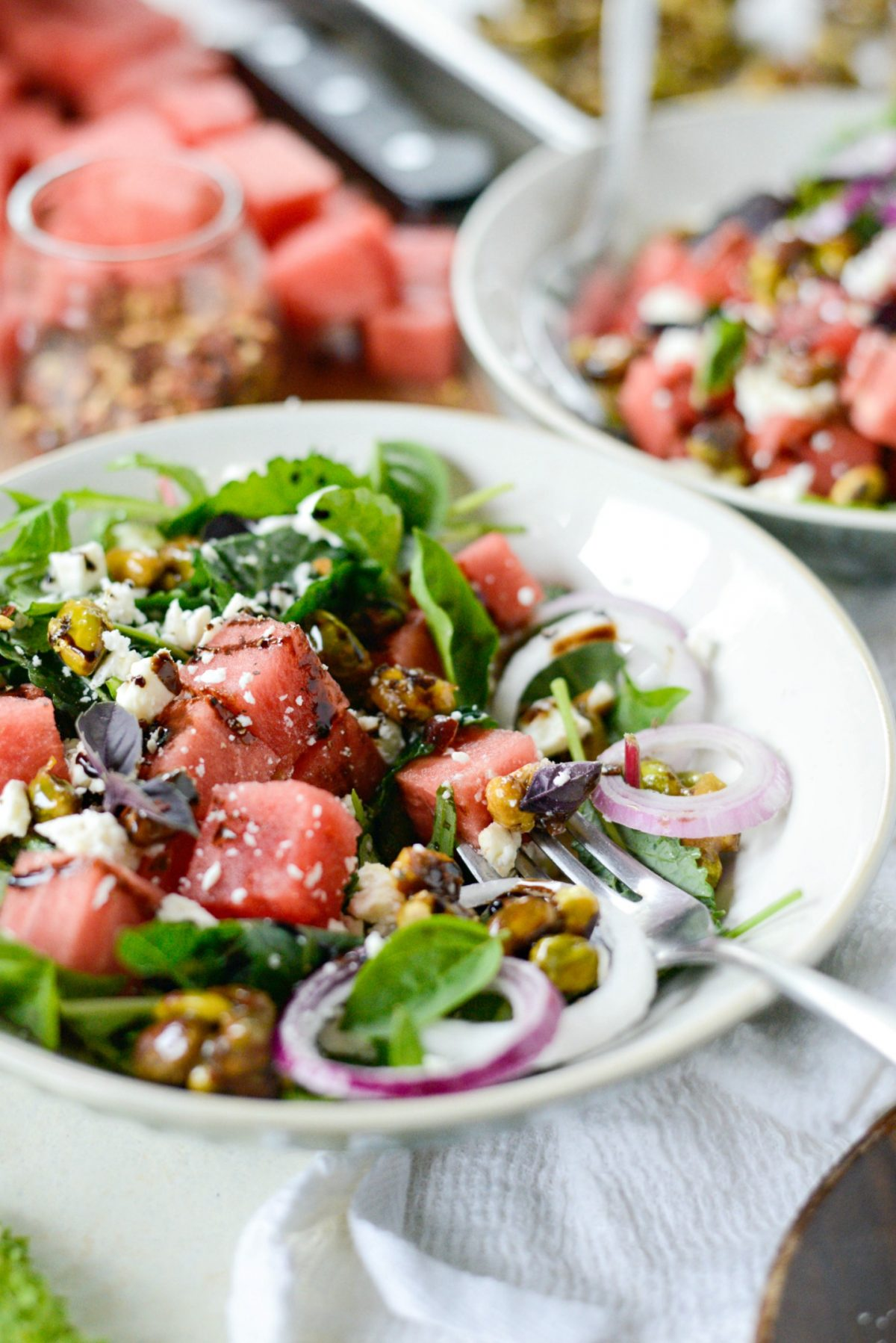 Watermelon Feta Salad with Honey Candied Pistachios l SimplyScratch.com