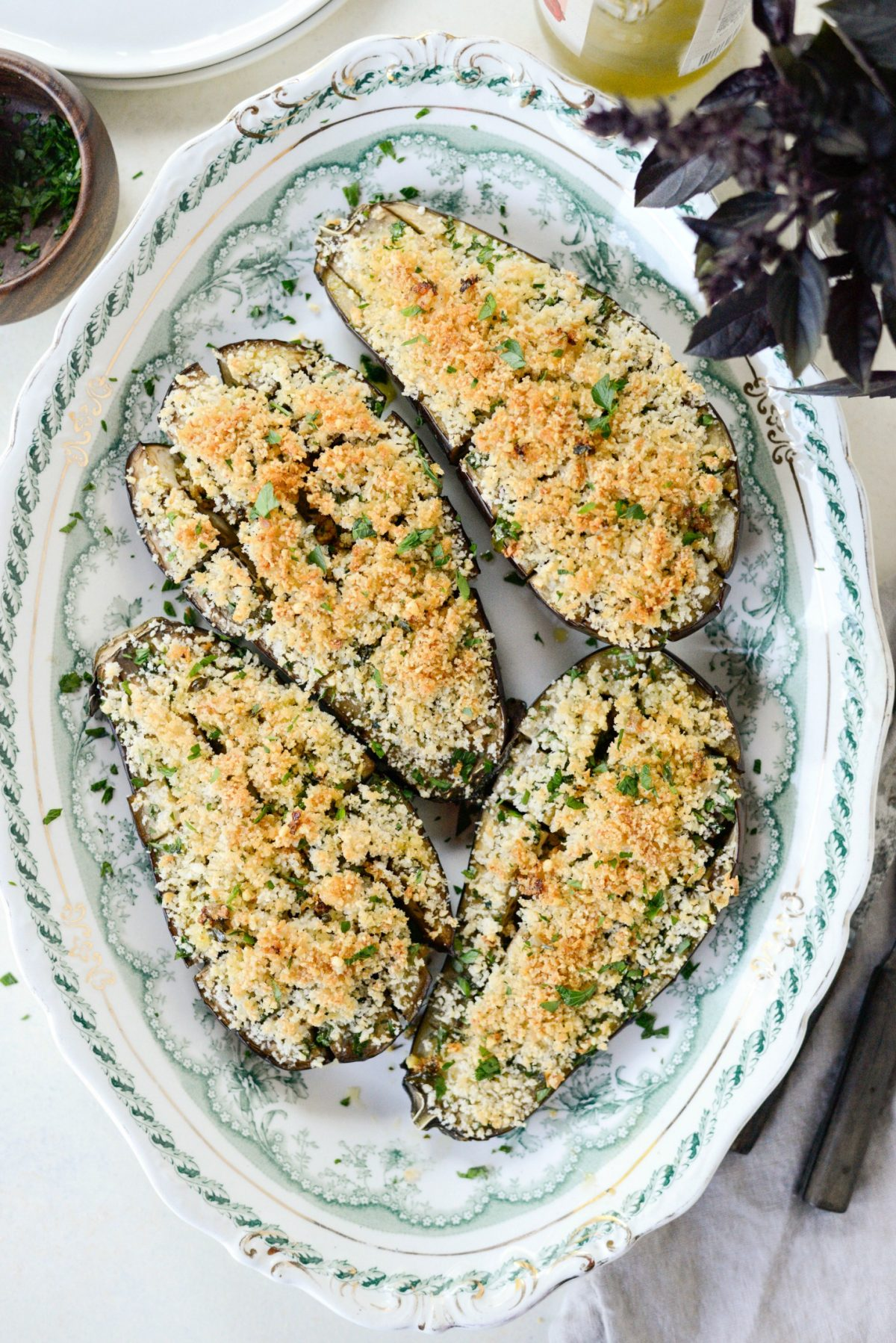 Baked Eggplant with Pecorino Crumbs