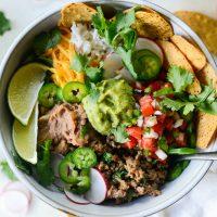 Cheesy Beef and Bean Burrito Rice Bowls