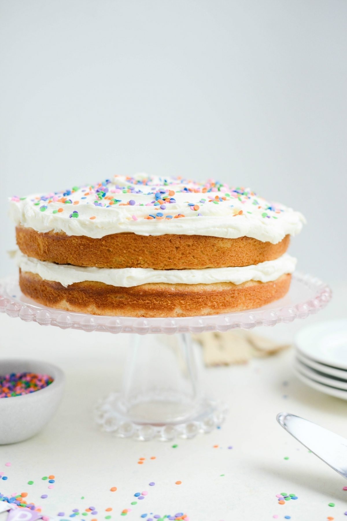 Easy Homemade White Cake with White Buttercream Frosting l SimplyScratch.com (30)