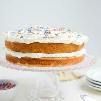 Easy Homemade White Cake with White Buttercream Frosting