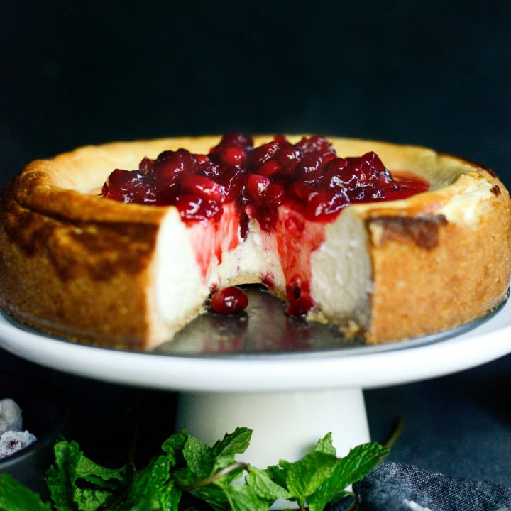 Goat Cheese Cheesecake with Tahini Shortbread Crust
