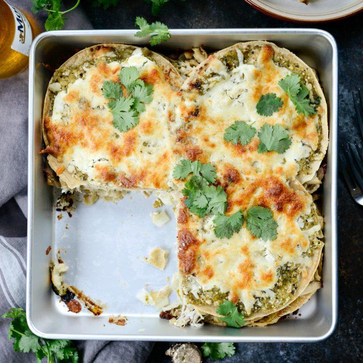 Salsa Verde Chicken Tortilla Casserole