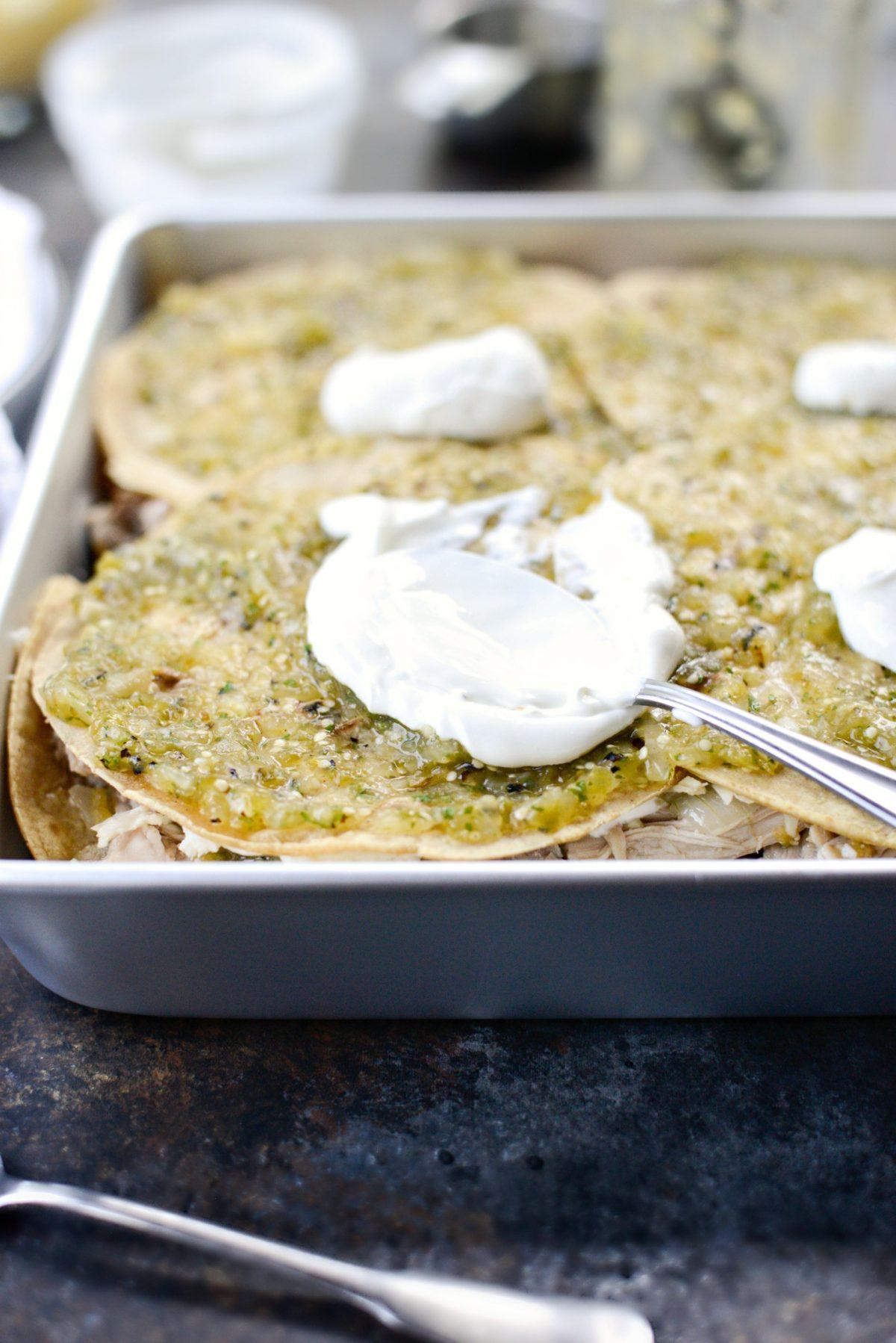Salsa Verde Chicken Tortilla Casserole l SimplyScratch.com (8)