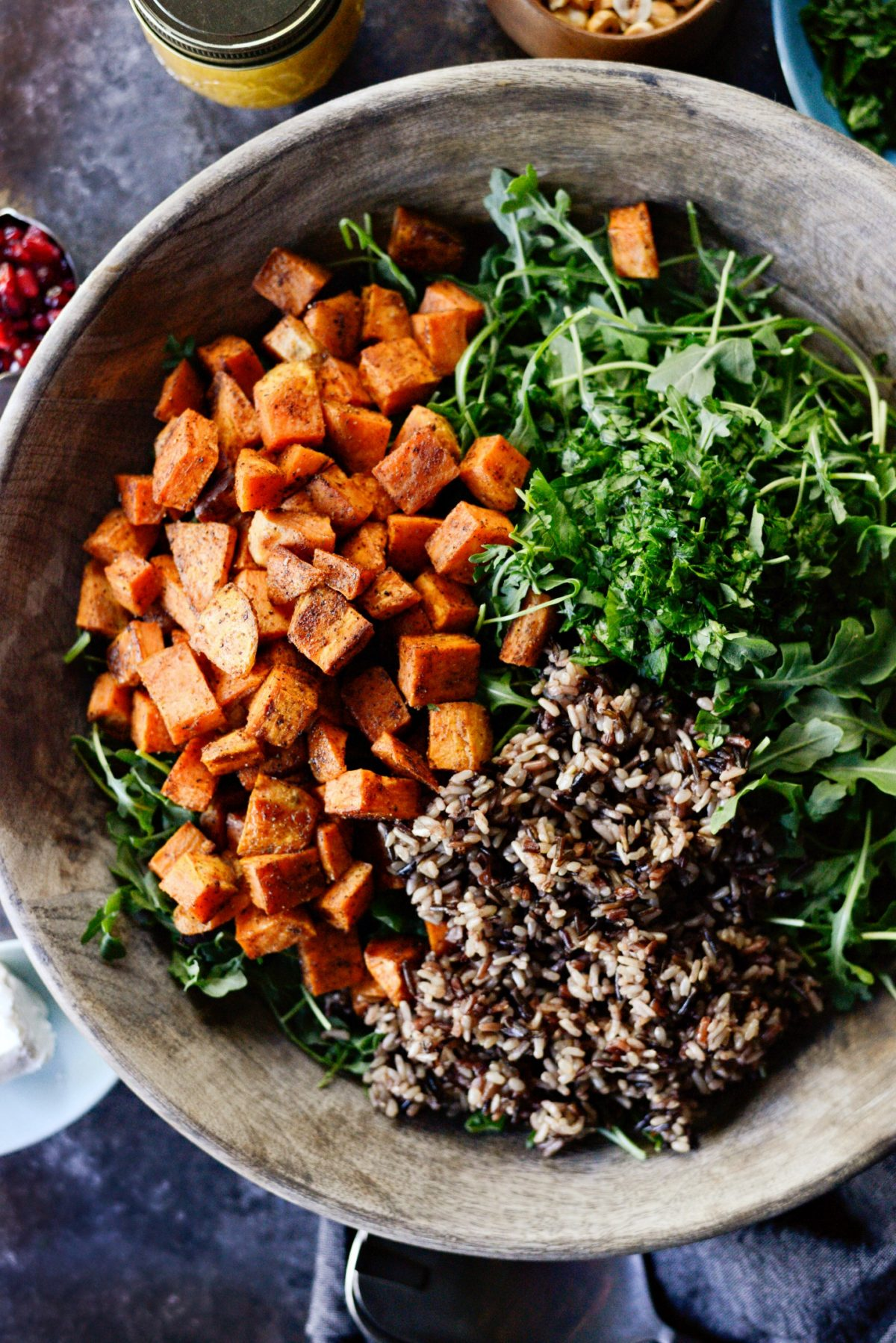 Sweet Potato Wild Rice Arugula Salad l SimplyScratch.com