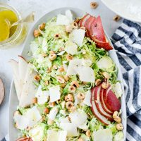 Shaved Brussels Sprout Salad with Pear, Parmesan and Hazelnuts