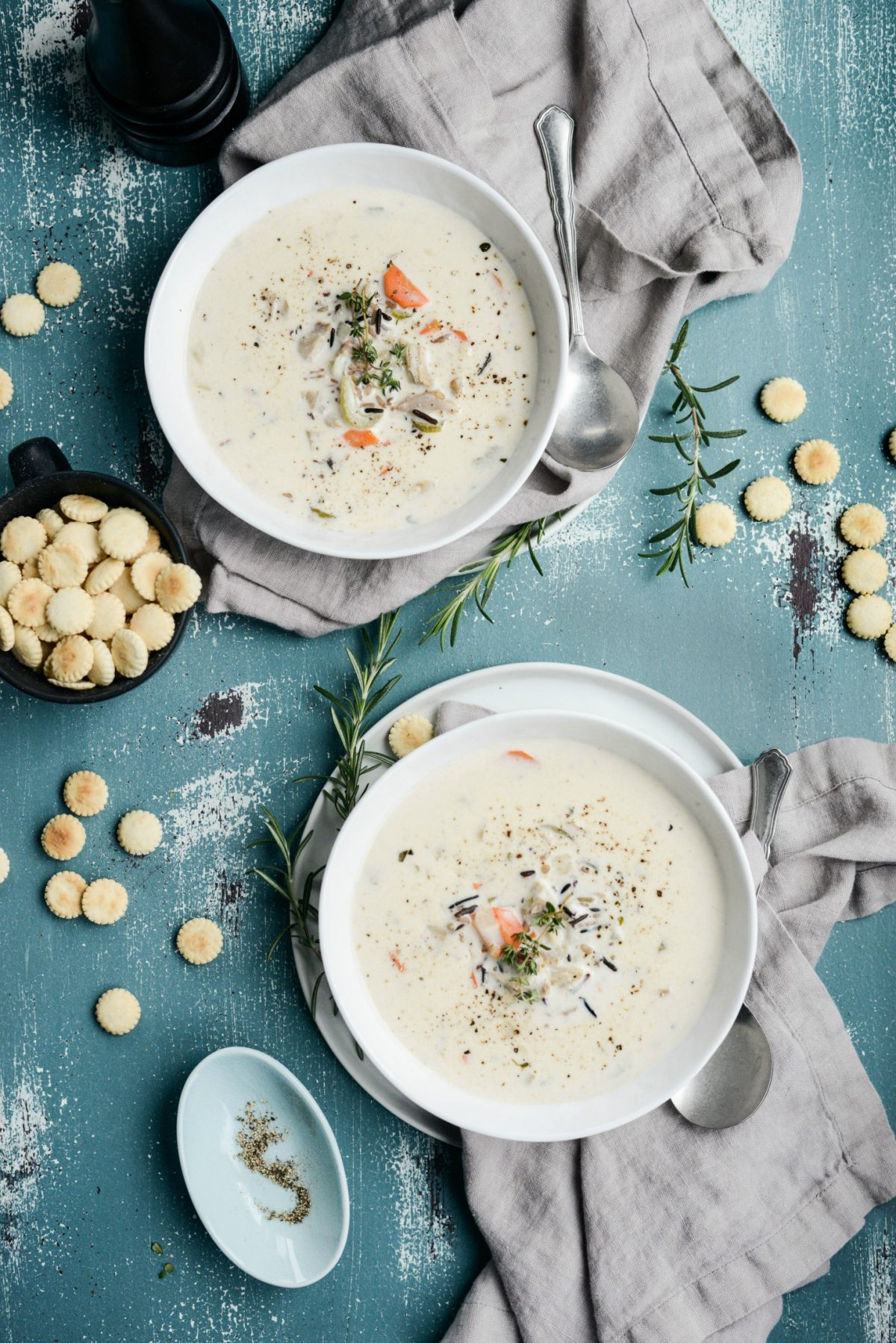 Turkey Wild Rice Soup for two with oyster crackers.