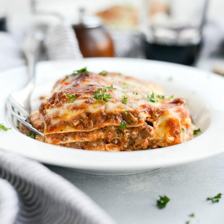 Three Meat Bolognese Lasagna
