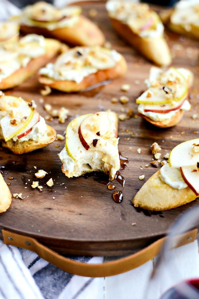 Whipped Blue Cheese Crostini with Pears and Honey l SimplyScratch.com #holiday #appetizer #pear #bluecheese #crostini #walnuts #honey