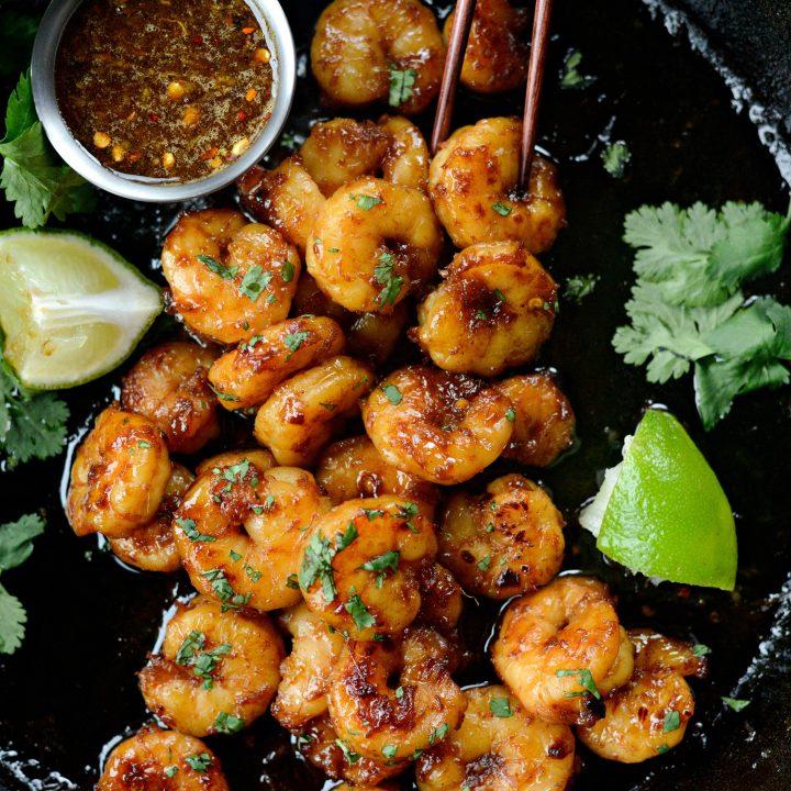 Glazed Hot Honey Garlic Shrimp