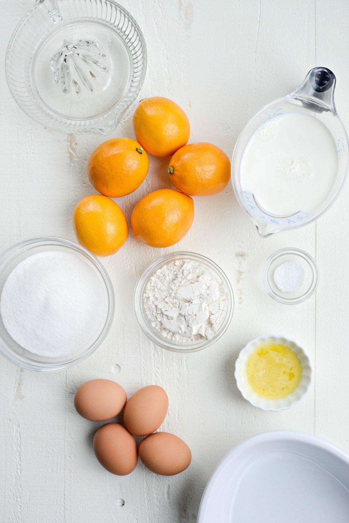 ingredients for Meyer Lemon Pudding Cake