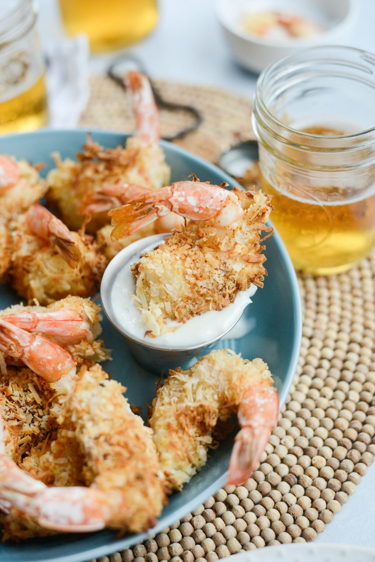 Air-Fryer Coconut Shrimp with Pineapple Coconut Yogurt Dip l SimplyScratch.com