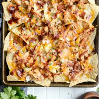 Sheet Pan BBQ Chicken Nachos