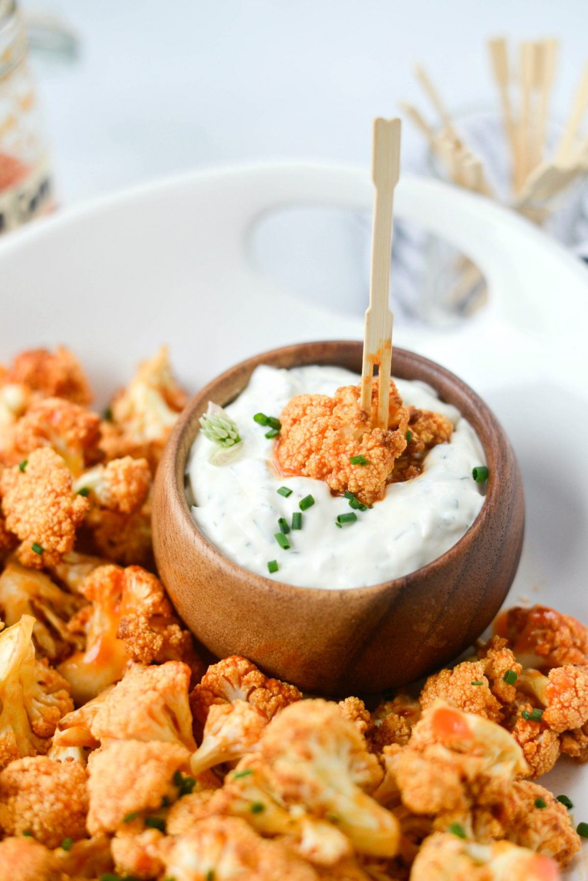 Air Fryer Buffalo Cauliflower Bites with Garlic Blue Cheese Dip l SimplyScratch.com
