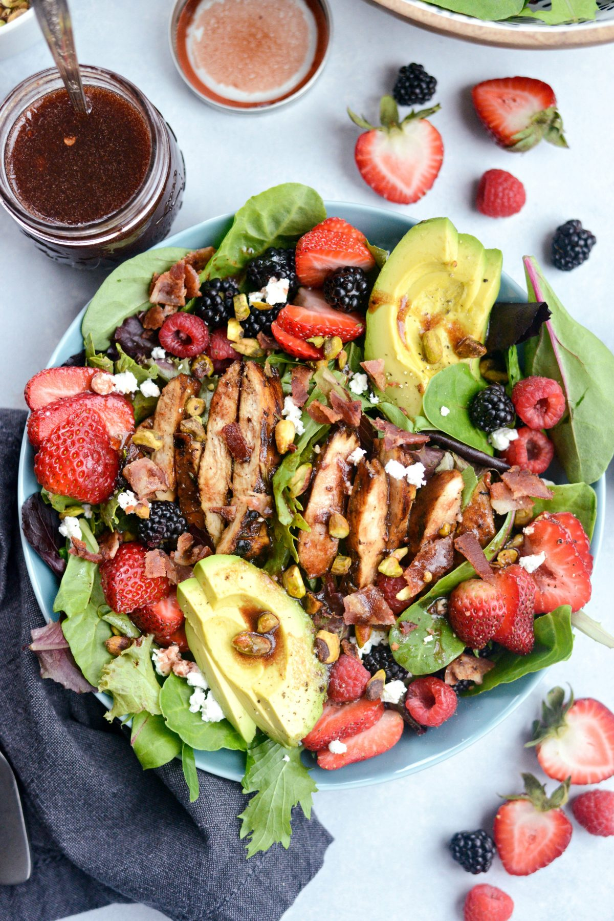 Fresh Berry Spring Salad with Raspberry Balsamic Vinaigrette l SimplyScratch.com