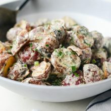 Grilled Potato Salad with Bacon Dijon Vinaigrette l SimplyScratch.com