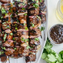 Grilled Sticky Garlic Sesame Steak Skewers l SimplyScratch.com