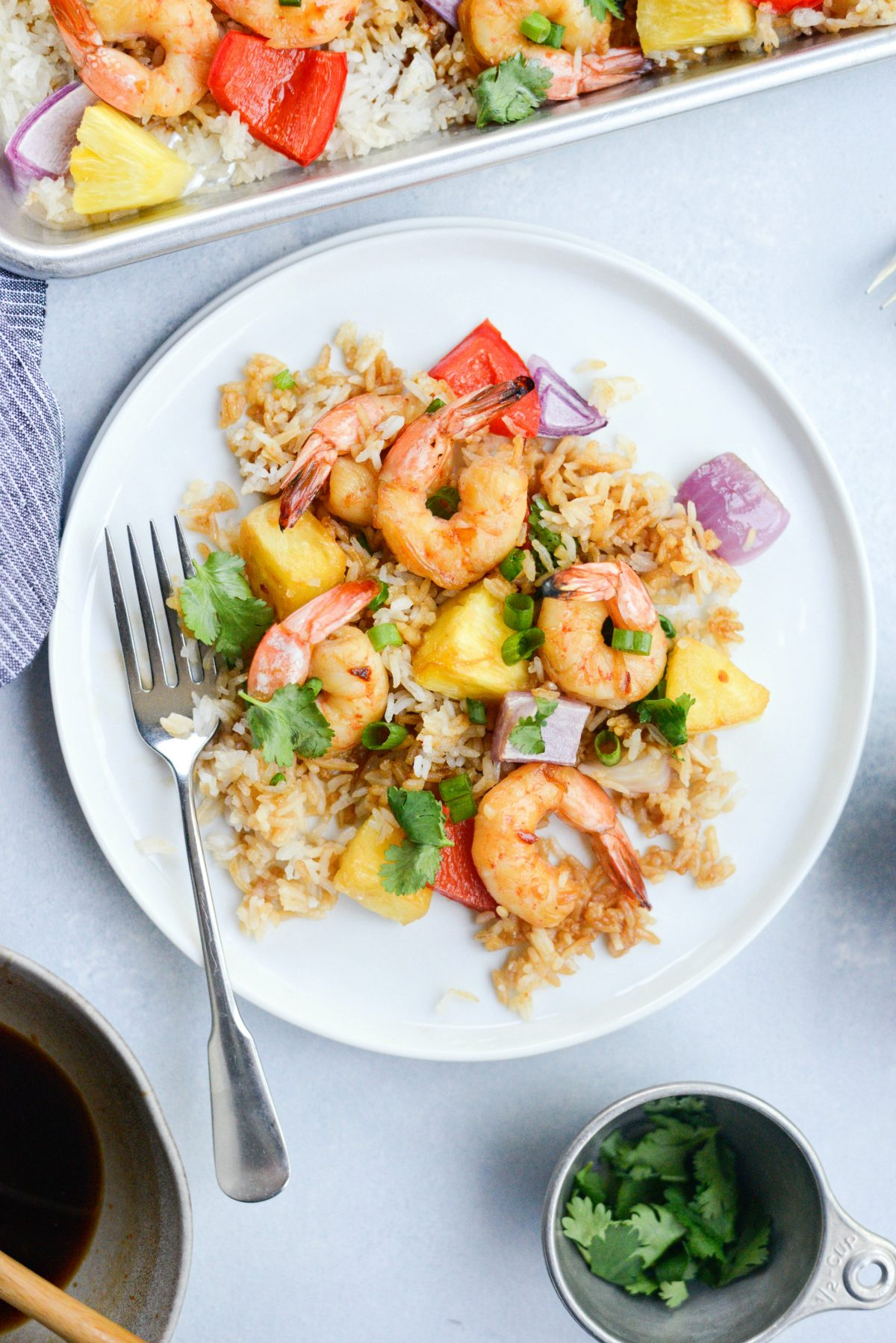 Sheet Pan Hawaiian Shrimp and Rice Dinner l SimplyScratch.com