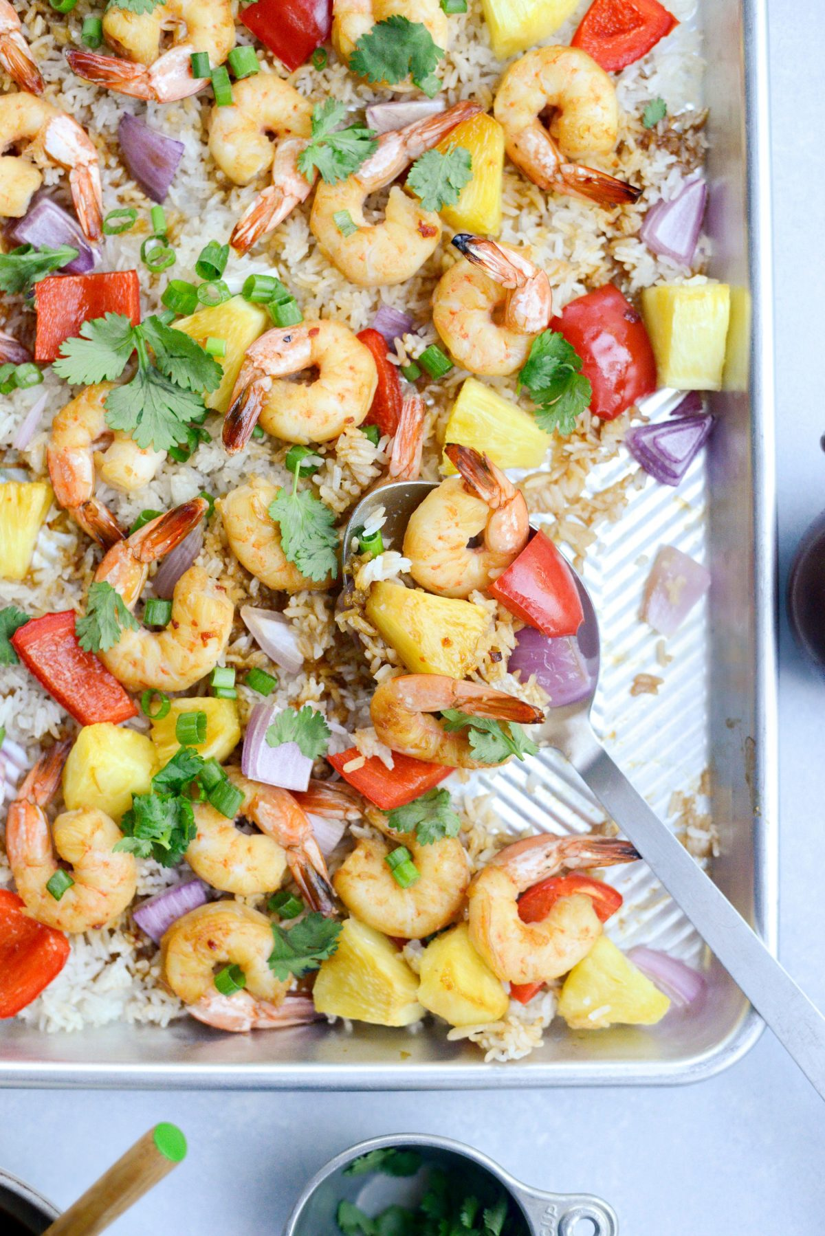 Sheet Pan Hawaiian Shrimp and Rice Dinner l SimplyScratch.com #sheetpan #shrimp #hawaiian #rice #easydinner