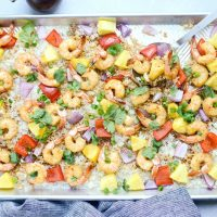 Sheet Pan Hawaiian Shrimp and Rice Dinner