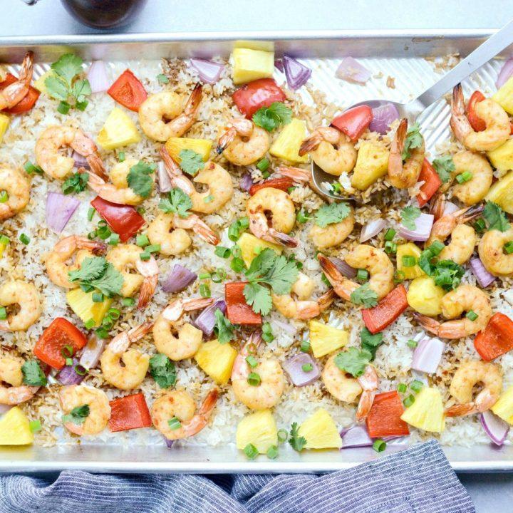 Sheet Pan Hawaiian Shrimp and Rice Dinner