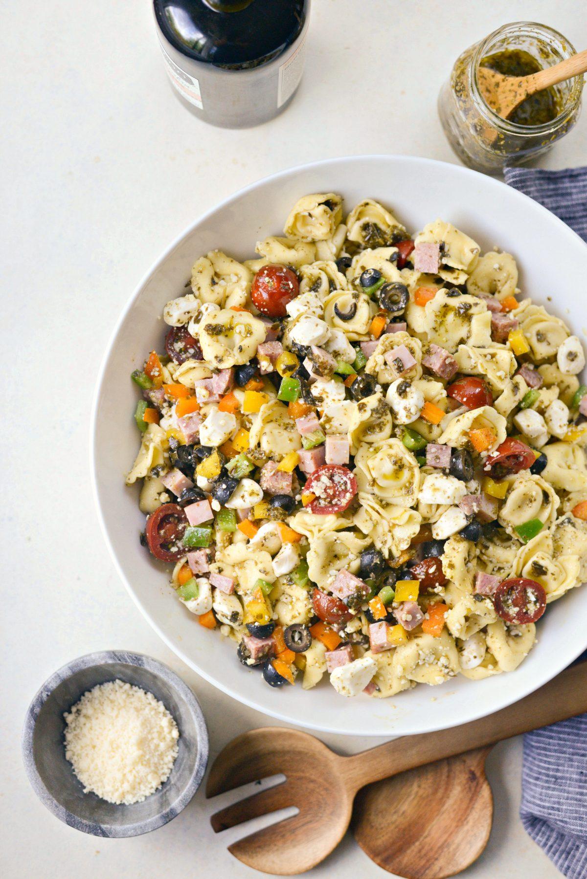 Antipasto Tortellini Pasta Salad with Basil Pesto Vinaigrette l SimplyScratch.com