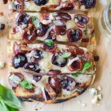 Grilled Cherry Gorgonzola Flatbread Pizza l SimplyScratch.com