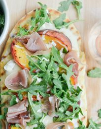 Grilled Peach, Goat Cheese and Prosciutto Flatbread l SimplyScratch.com