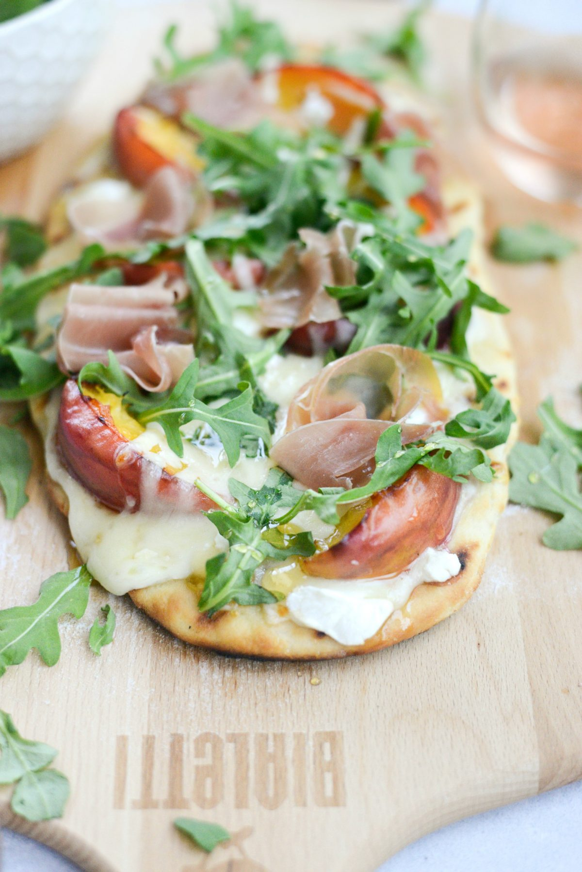 Grilled Peach, Goat Cheese and Prosciutto Flatbread
