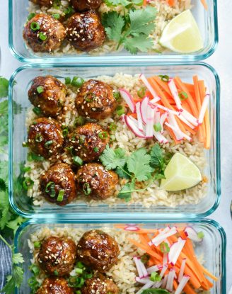 Maple Sriracha Glazed Meatballs l SimplyScratch.com