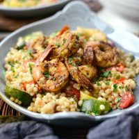 North African Shrimp with Roasted Summer Vegetable Israeli Couscous