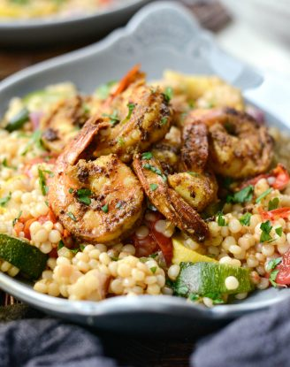 North African Shrimp with Roasted Summer Vegetable Couscous l SimplyScratch.com