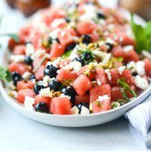 Watermelon Blueberry Feta Salad l SimplyScratch.com
