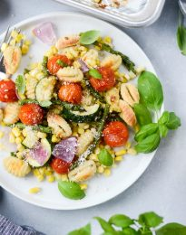 Sheet Pan Cripsy Gnocchi with Summer Vegetables l SimplyScratch.com