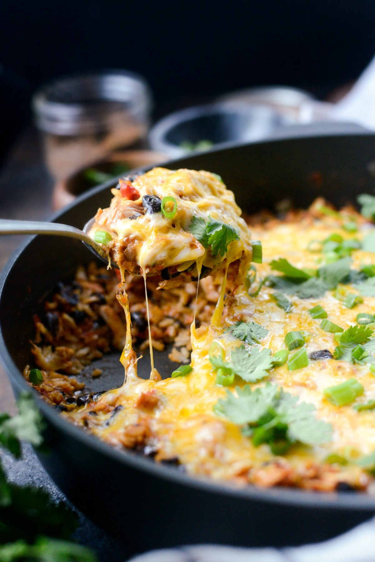 Enchilada Chicken and Rice Skillet l SimplyScratch.com