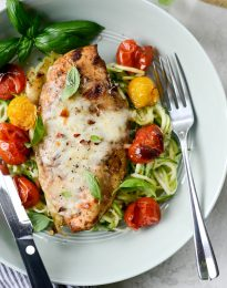 Sheet Pan Balsamic Basil Chicken with Burst Tomatoes l SimplyScratch.com