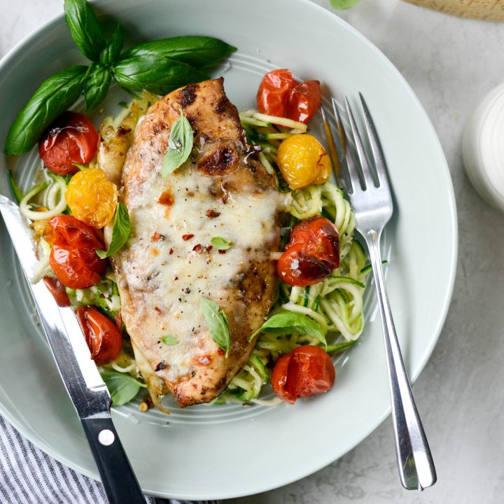 Sheet Pan Balsamic Basil Chicken with Burst Tomatoes