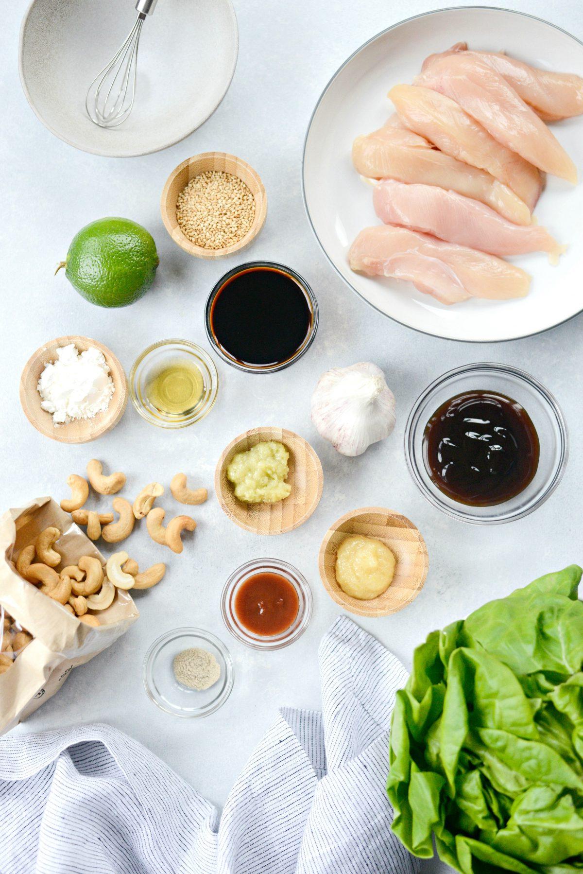 Thai Cashew Chicken Lettuce Wraps l SimplyScratch.com