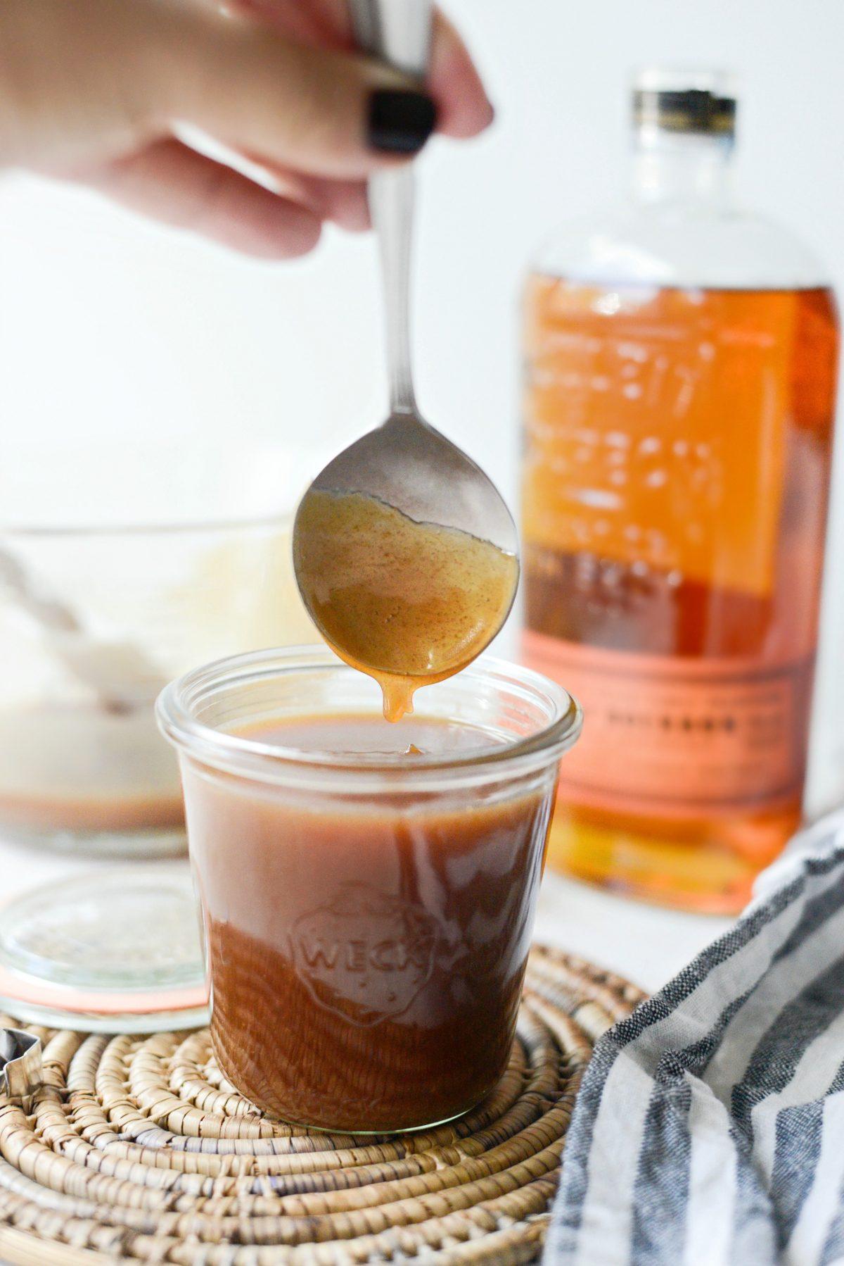 Bourbon Salted Caramel Sauce l SimplyScratch.com