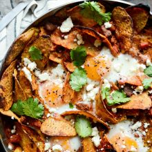 Chorizo Sweet Potato Chilaquiles l SimplyScratch.com