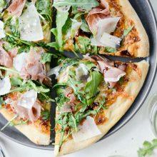 Fig Jam Prosciutto Pizza with Parmesan and Arugula l SimplyScratch.com