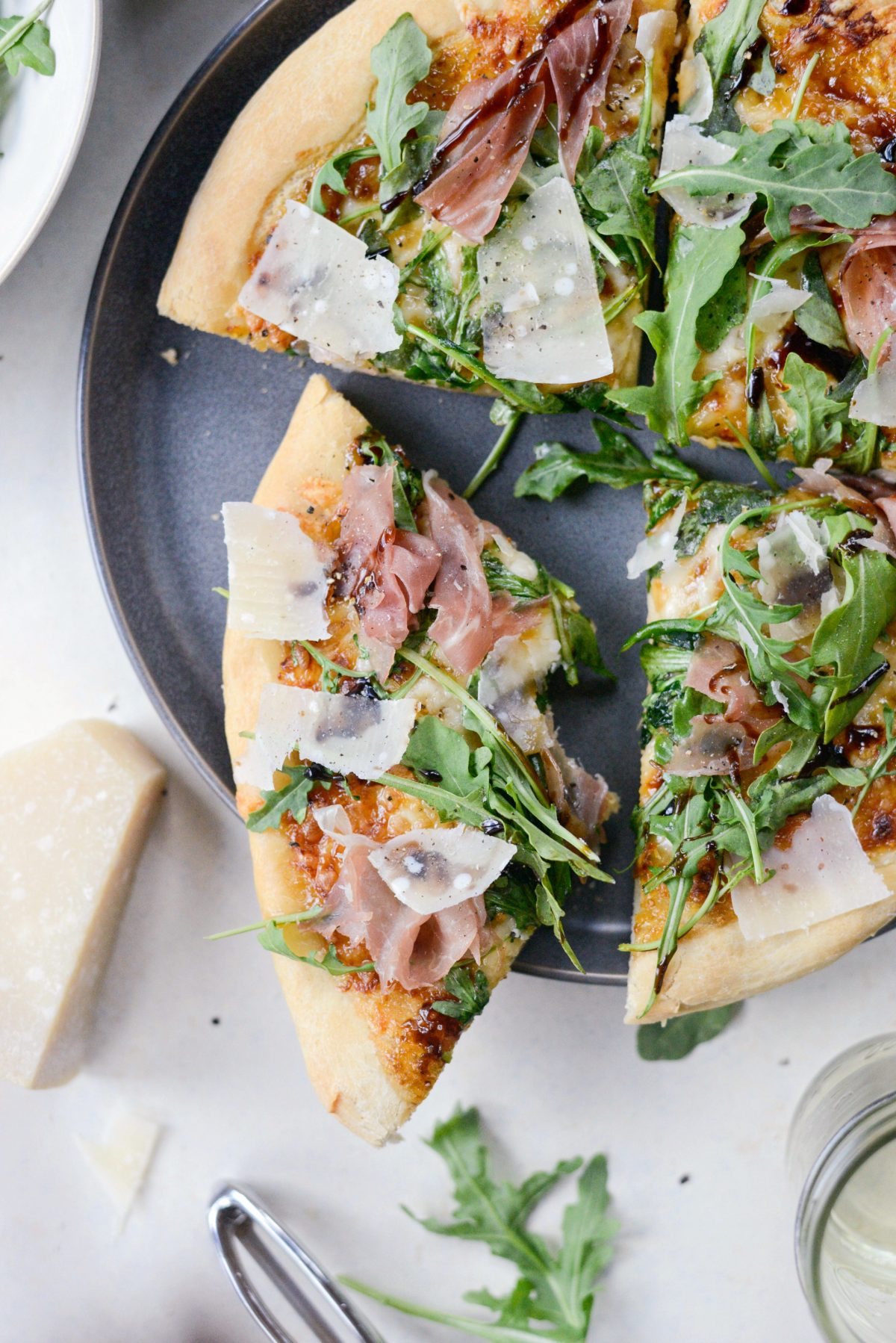 Fig Jam Prosciutto Pizza with Parmesan and Arugula l SimplyScratch.com