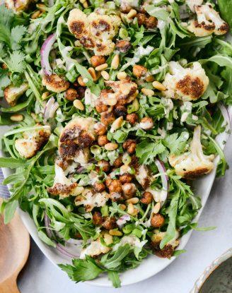 Roasted Cauliflower Shawarma Chickpea Salad l SimplyScratch.com