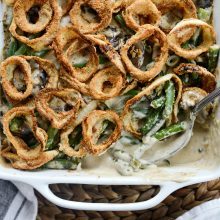 Fresh Green Bean Casserole with Onion Ring Topping l SimplyScratch.com