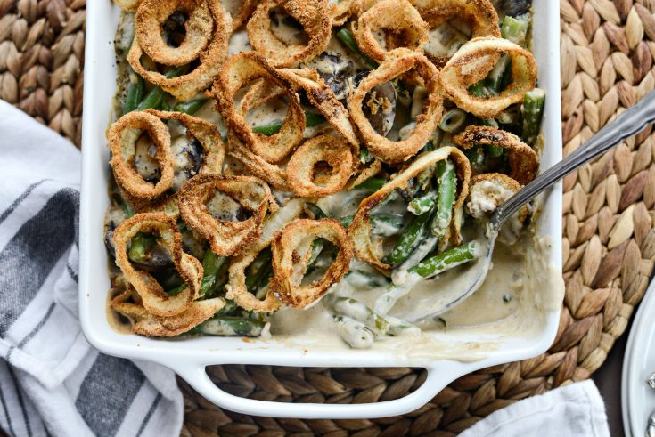 Fresh Green Bean Casserole with Onion Ring Topping