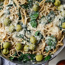 Lemon Parmesan and Kale Spaghetti with Olives l SimplyScratch.com