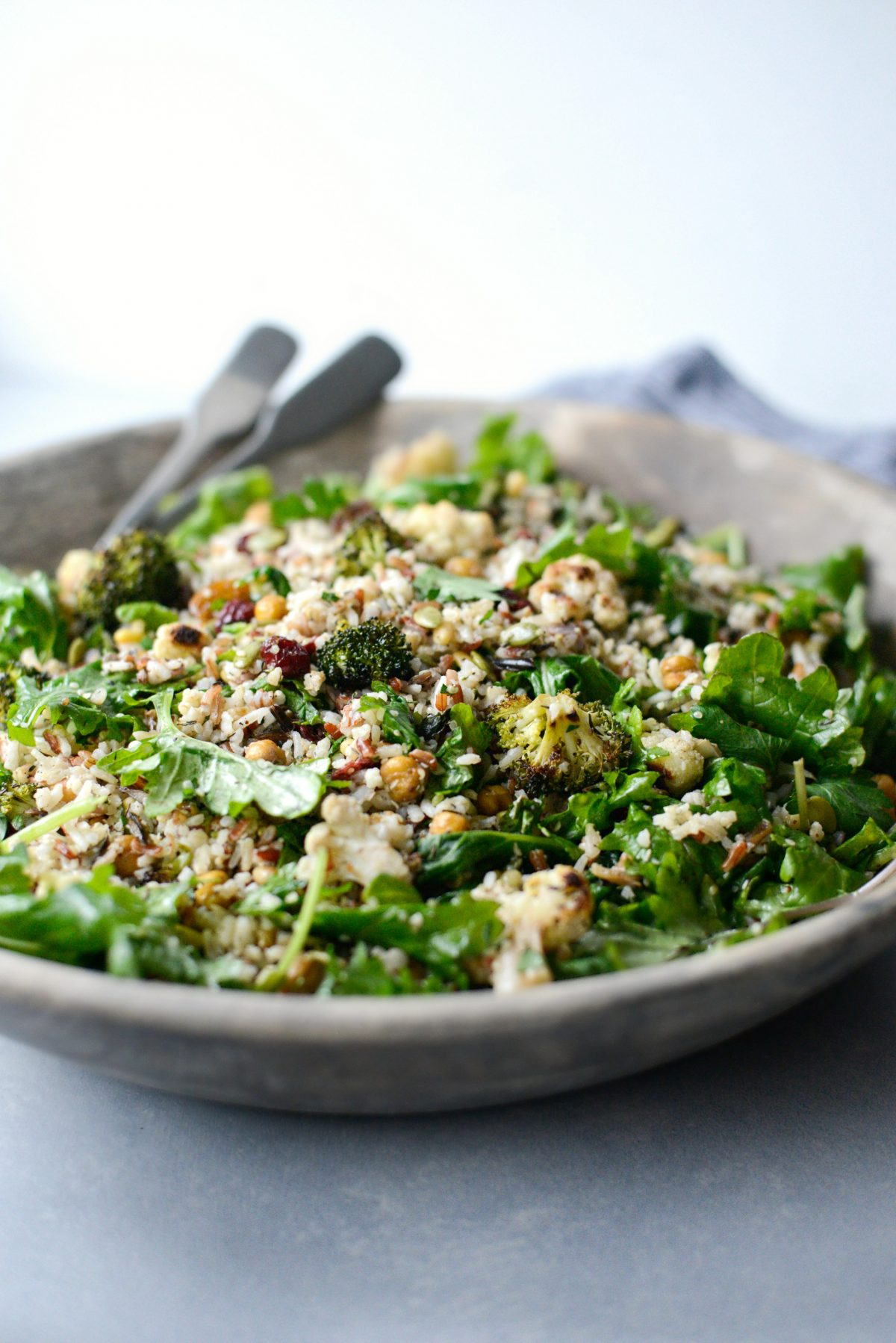 Roasted Broccoli Cauliflower Kale Salad l SimplyScratch.com