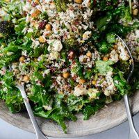 Roasted Broccoli Cauliflower Kale Salad