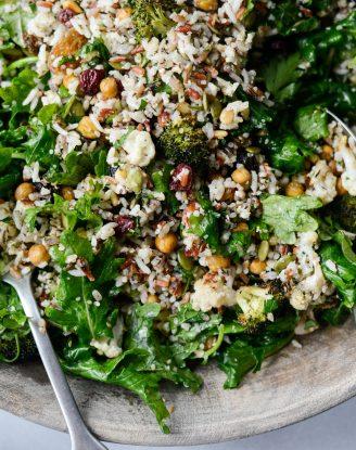 Roasted Broccoli Cauliflower Kale Salad l SimplyScratch.com