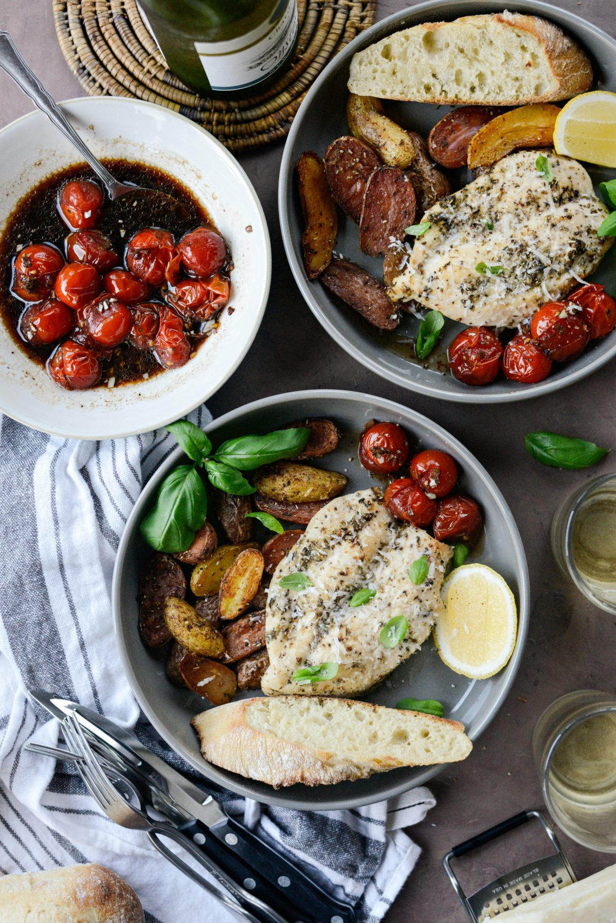 Tuscan Chicken and Potato Sheet Pan Dinner with Balsamic Burst Tomatoes l SimplyScratch.com